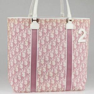 Dior pink monogram tote bag